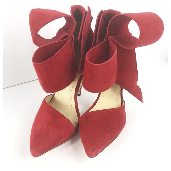 fd7362e6e2a Aminah Abdul Jillil Shoes - Aminah Abdul Jillil Bow Pump in RED Suede 7
